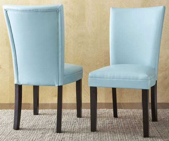 Matinee Aqua Bonded Leather Chair Set of 2