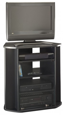 Visions Black Tall Corner TV Stand