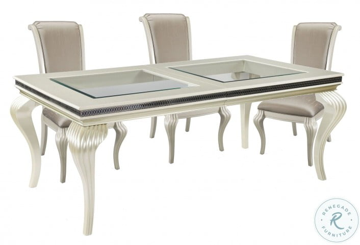 Hollywood Swank Pearl Caviar Glass Top Dining Room Set