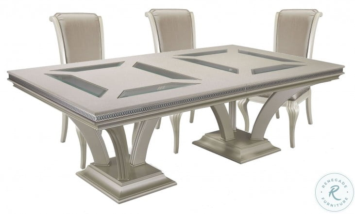 Hollywood Swank Pearl Caviar Large Rectangular Dining Room Set