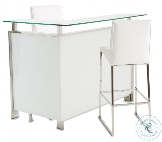 State St Saffron And Glossy White Glass Top Bar