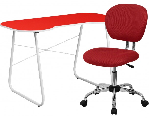 Red Computer Desk and Chair