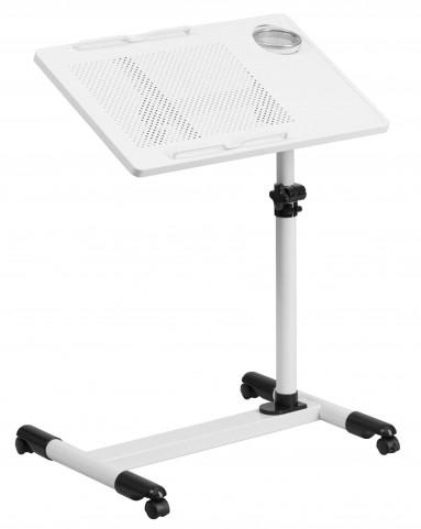 White Adjustable Height Mobile Computer Desk