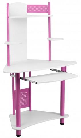 Pink Corner Desk with Hutch