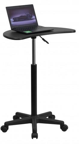 Mobile Laptop Black Computer Desk Adjustable Height