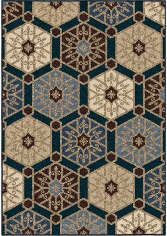 Four Seasons Indoor/Outdoor Hexagons Partha Blue Small Area Rug