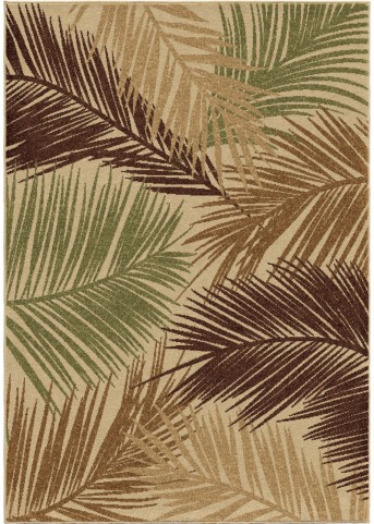 Four Seasons Indoor/Outdoor Leaves Bungalow Palms Multi Small Area Rug