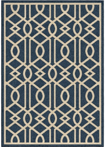 Four Seasons Indoor/Outdoor Trellis Barcelona Blue Small Area Rug