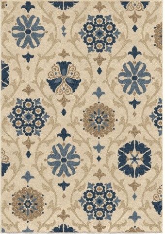 Four Seasons Indoor/Outdoor Scroll Floral Chico Ivory Large Area Rug