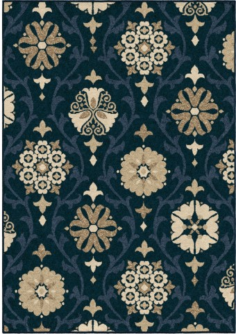 Four Seasons Indoor/Outdoor Scroll Floral Chico Blue Small Area Rug