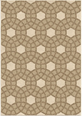 Four Seasons Indoor/Outdoor Circles Castleberry Beige Large Area Rug