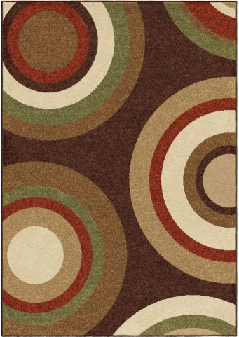 Four Seasons Indoor/Outdoor Circles Roundtree Brown Large Area Rug