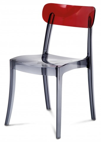 New Retro Red & Smoke Stacking chair Set of 4