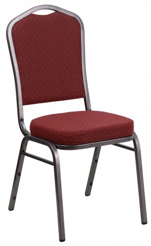 Hercules Series Crown Back Stacking Burgundy Fabric Banquet Chair