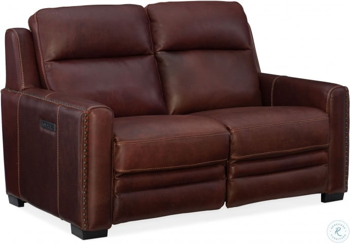 Remarkable Aviator Chaldan Rust Leather Leather Power Reclining Loveseat With Power Headrest And Power Lumbar Bralicious Painted Fabric Chair Ideas Braliciousco