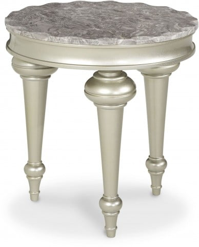 Hollywood Swank Silver Chairside Table