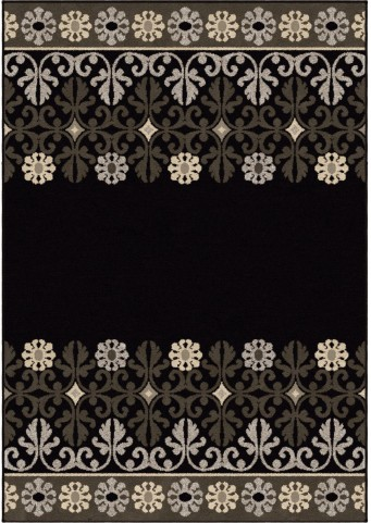 Nuance Trendy Colors Floral Crewel Border Black Large Area Rug