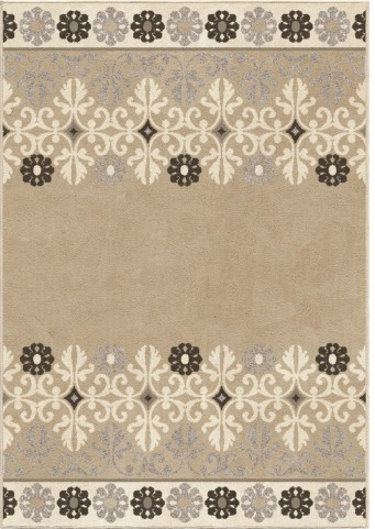 Orian Rugs Trendy Colors Floral Crewel Border Beige Area Small Rug