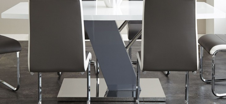 Nevada Shiny Chrome Rectangular Pedestal Dining Table