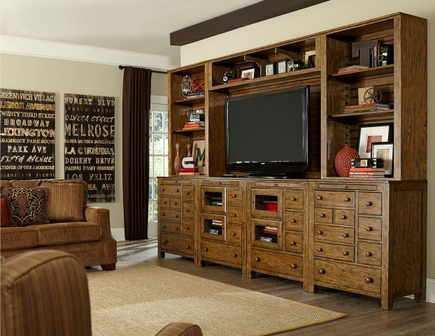 New Vintage Brown Bunching Entertainment Unit