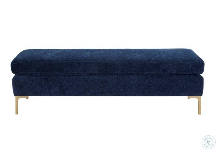Delilah Navy Textured Velvet Bench