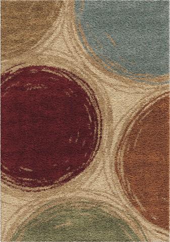 Impressions Shag Plush Circles Sketching Circles Multi Small Area Rug