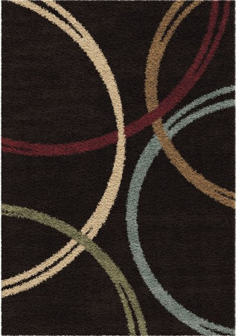 Orian Rugs Plush Rings Woodford Black Area Large Rug