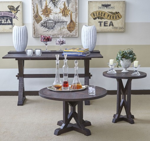 Pacific Heights Chestnut Round Occasional Table Set