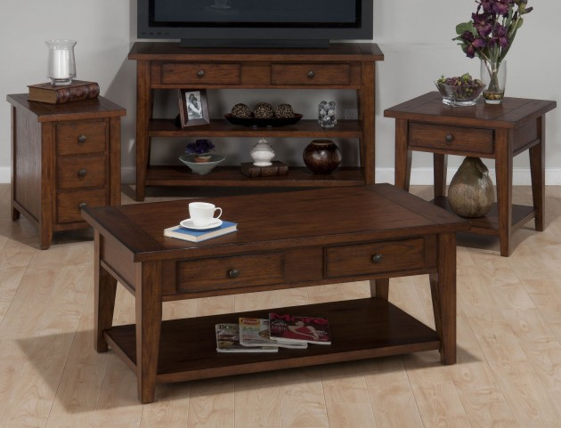 Clay County Oak Occasional Table Set