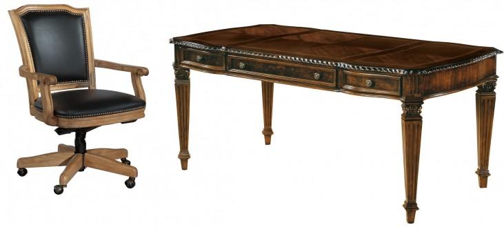 Old World Walnut Table Desk Home Office Set