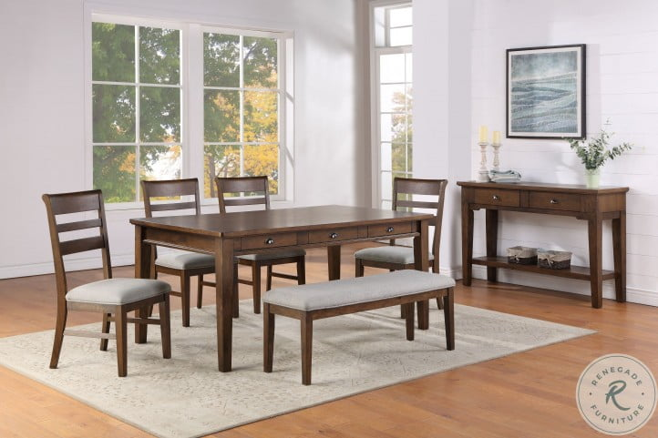 Ora Warm Walnut 6 Drawer Dining Room Set