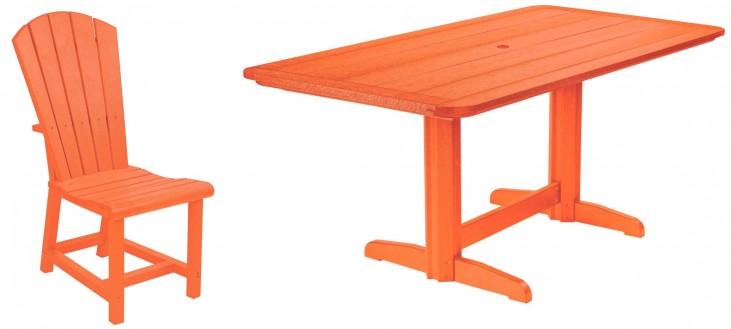 "Generations Orange 36"" Double Pedestal Dining Room Set"