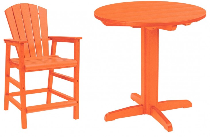 "Generations Orange 37"" Round Pedestal Pub Set"