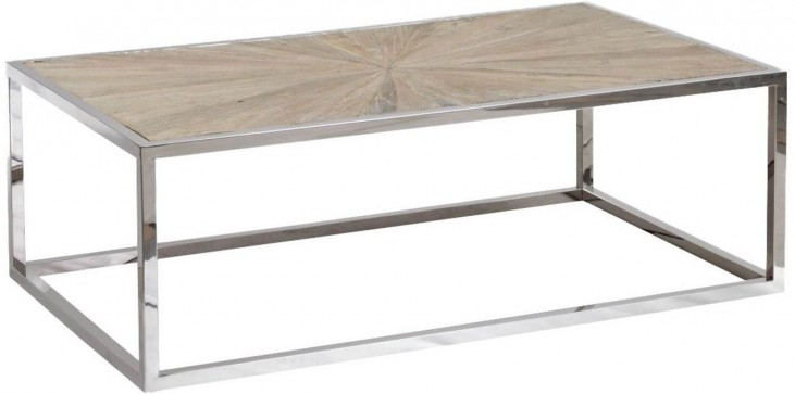 Bella Antique Stainless Steel Parquet Coffee Table