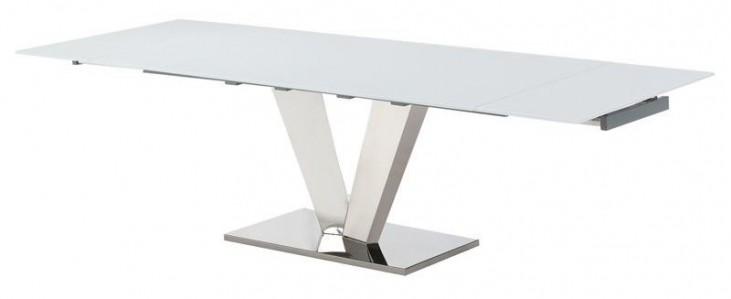 Otello White Glass Extendable Rectangular Dining Table