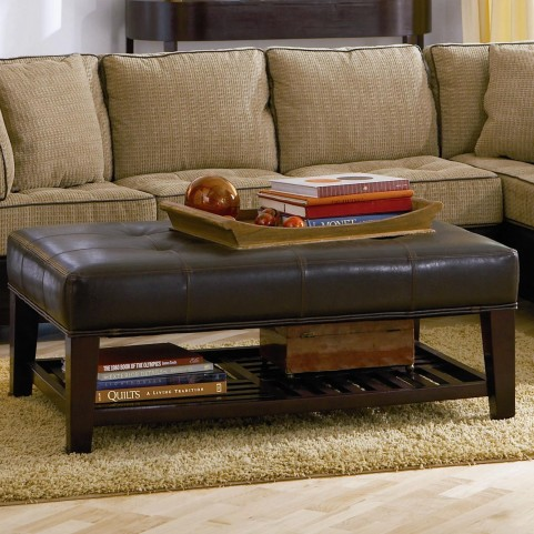 500872 Tufted Ottoman with Storage Shelf