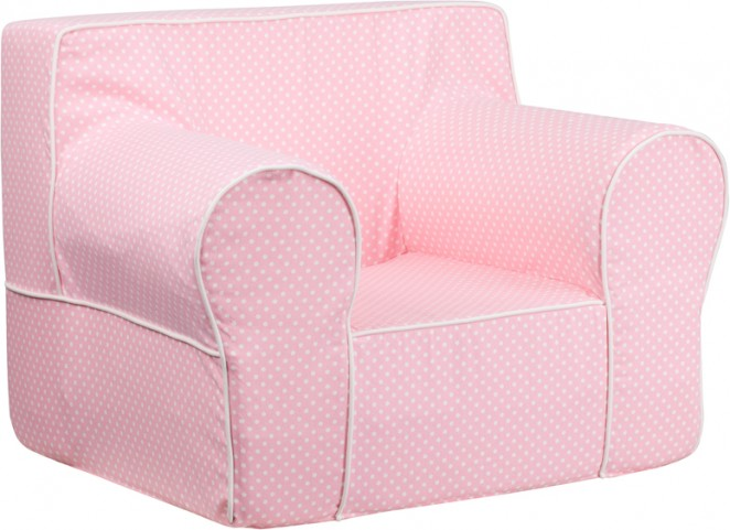 Oversized Light Pink Dot Kids Chair with White Piping
