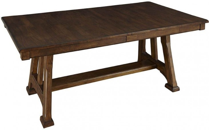 Ozark 92 Warm Pecan Extendable Trestle Dining Table From A America