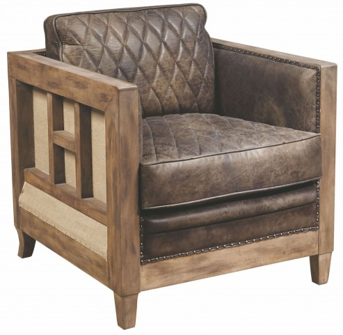 Slater Brown Leather And Wood Accent Chair