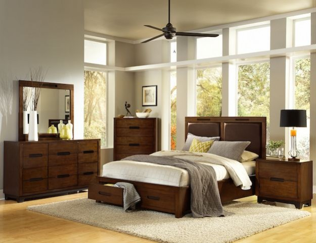 Portland Nutmeg Upholstered Bedroom Set