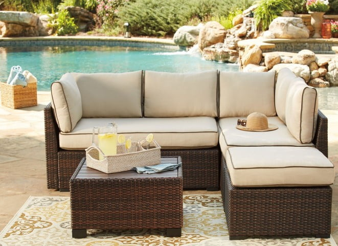 Pleasing Loughran Beige And Brown Outdoor Sectional With Table Download Free Architecture Designs Aeocymadebymaigaardcom