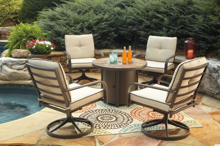 Predmore Beige and Brown Round Fire Pit Outdoor Dining Set