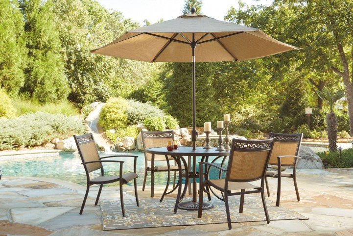 Carmadelia Tan and Brown Outdoor Round Dining Room Set