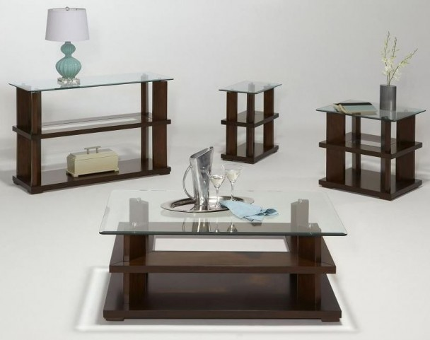 Delfino Burnished Cherry Occasional Table Set