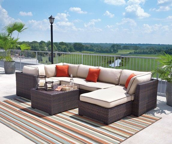Renway Beige and Brown Outdoor Sectional