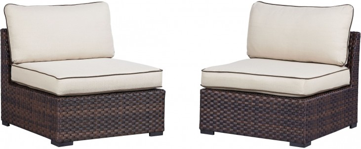 Renway Beige and Brown Outdoor Armless Chair Set of 2