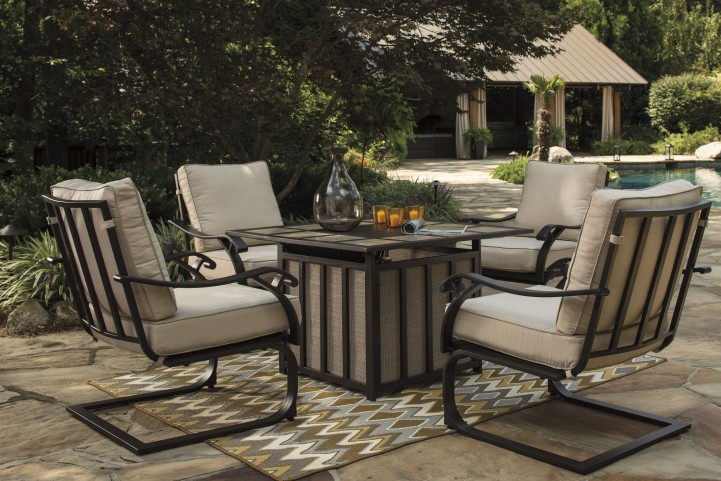 Wandon Beige and Brown Outdoor Square Fire Pit Outdoor Dining Set