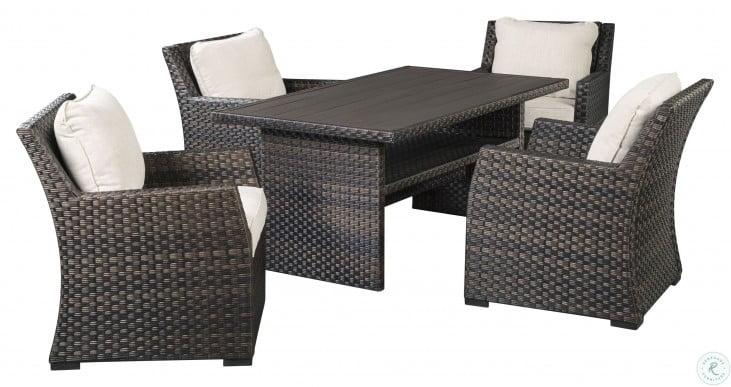 Easy Isle Dark Brown and Beige Outdoor Rectangular Dining Room Set