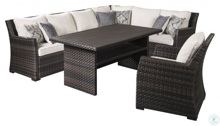 Easy Isle Dark Brown And Beige Outdoor RAF Sectional