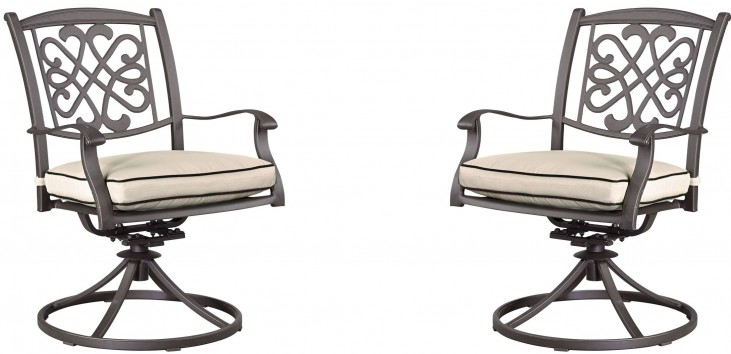 Burnella Beige and Brown Outdoor Swivel Chair Set of 2